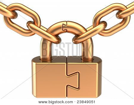 Lock padlock closed puzzle with chain colored golden