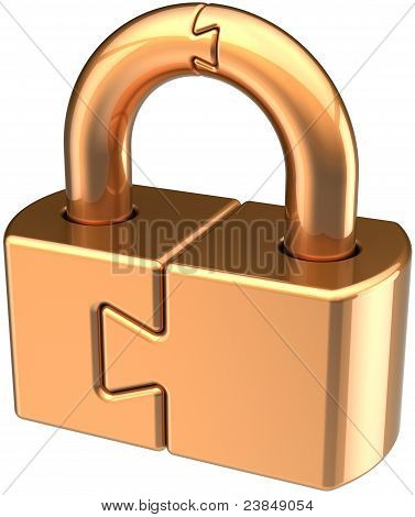 Lock padlock closed guard golden. Puzzle security icon concept