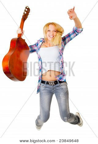 Jumping Girl With Guitar