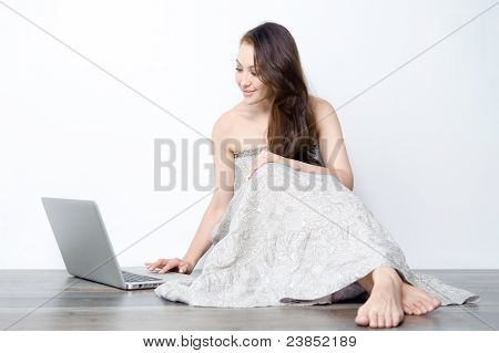 Attractive Female Using Laptop