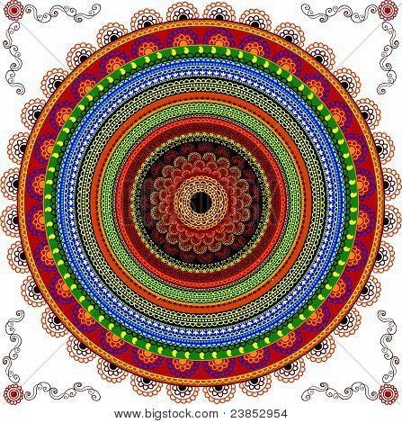 Colorful Henna Mandala design