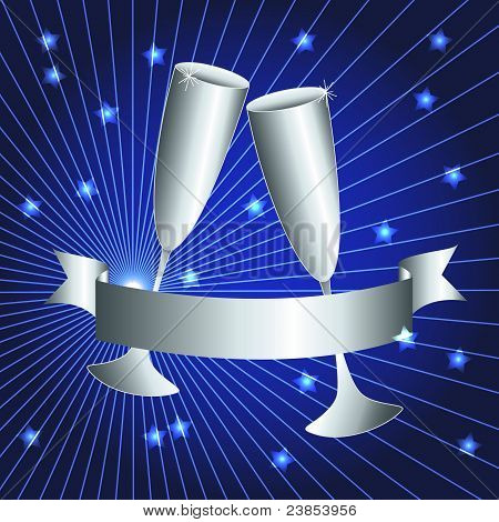 Silver Cups And Ribbon Banner