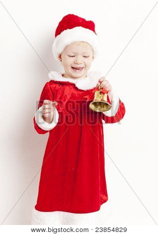 little girl as Santa Claus with a bell