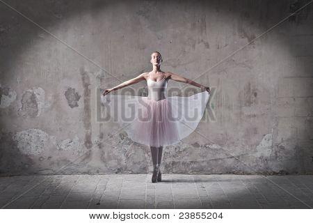 Beautiful ballerina bowing