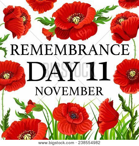 11 November Poppy Day Greeting Card For Remembrance Day In