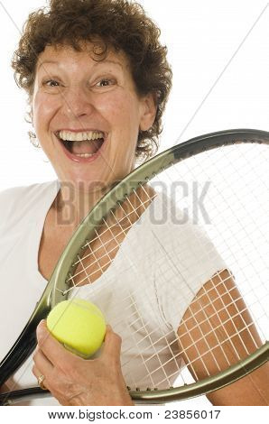 Excited Middle Age Senior Woman Athlete Tennis Player