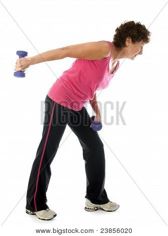 Middle Age Senior Woman Athlete Exercise Dumbbells