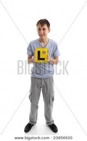Teen Boy Holding L Learner Plates
