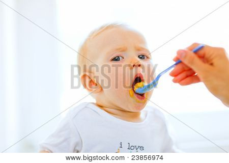 Eat Smeared Pretty Baby Open Mouth For Spoon