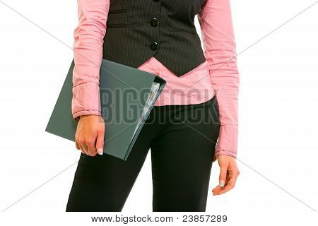 Closeup On Folder In Hand Of Business Woman