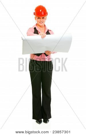 Modern Architect Woman With Open Flip Chart