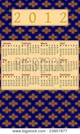 2012 Blue And Orange Damask Calendar