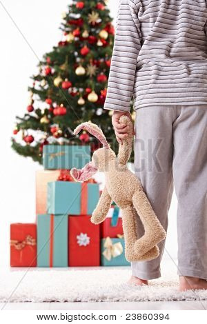 Little boy going in pyjama to unwrap gifts on christmas morning, holding toy.?