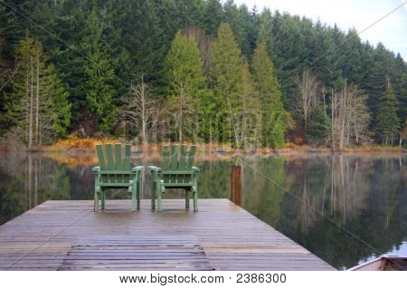 Chairs for two on the dock with