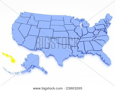 3D map of United States - State Hawaii