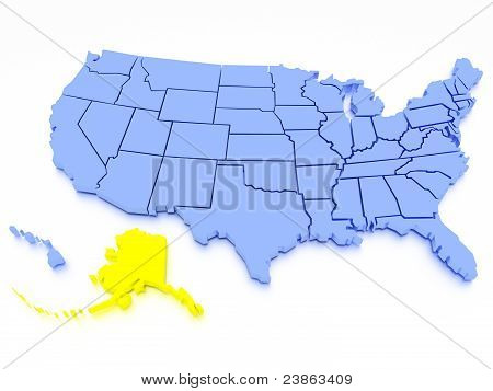 3D map of United States - State California