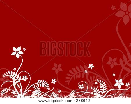 Floral Design On Red Background