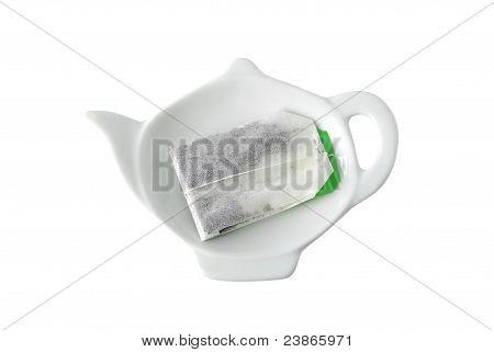 Teabag On Teapot Shaped Saucer
