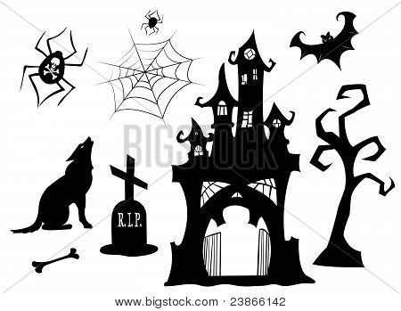 Set of halloween silhouettes.