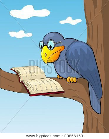 Cartoon raven and book.