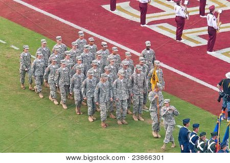 Military Presence At College Football Game