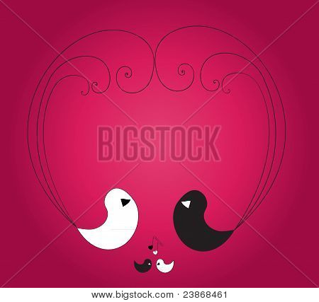 Four birds forming heart on the violet background