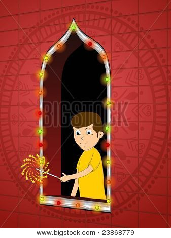 vector boy cracking cracker near of colorful light decorated window concept for diwali & other indian festival celebration