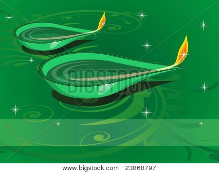 green floral, twinkle star background with set of stylish shape oil diya vector for diwali & traditional indian festival celebration