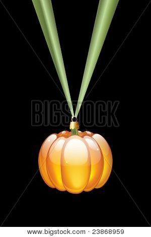 A pumpkin Christmas style glass bauble hanging on a green ribbon. Isolated on black. Alternative Halloween or Thanksgiving decoration. EPS10 vector format.