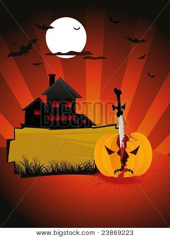 sunset background with castle and pumpkin, vector halloween invitation card