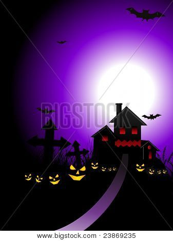 diseño de concepto de Halloween con una espeluznante casa en cementerio con linternas de jack-o miedo