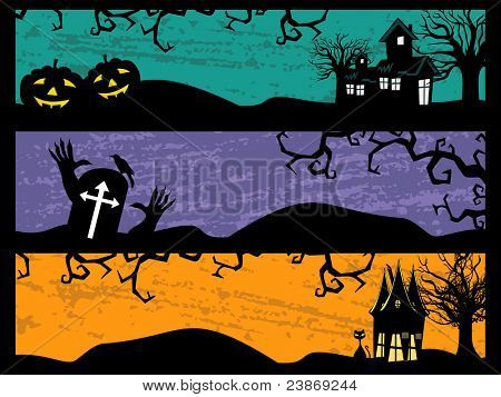 halloween background with dead tree, fly owl & big scary pumpkin