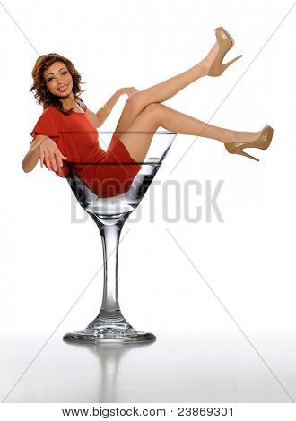 Young African American Woman in a Martini Glass on a white background