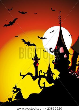 sunset background with spooky house, fly owl, witch & cat, vector wallpaper