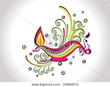 colorful elegant floral background with stylish diya for diwali celebration & other indian festival