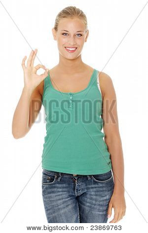 Happy young blond woman gesturing perfect. Isolated on white background.