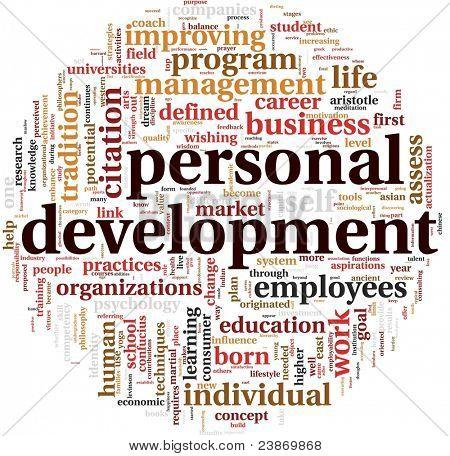 Persönliche Entwicklungskonzept in Wort-Tag-Cloud auf weiß