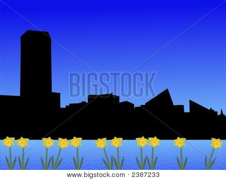 Baltimore Skyline In Spring