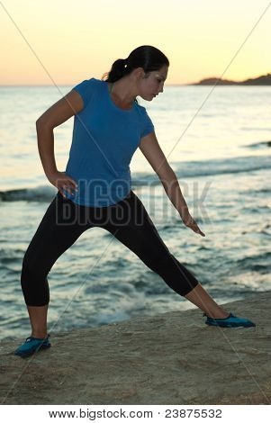 Woman Doing Fitness By Sunset