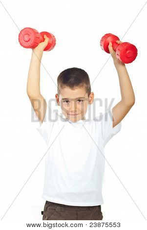 Powerful Boy Lifting Dumbbel