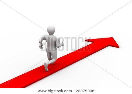 Man running the road of success
