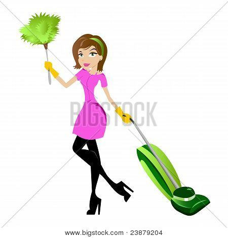 Cleaning Lady with Duster and Vacuum