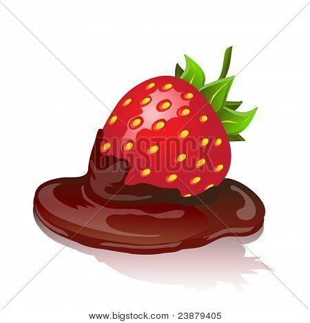 Chocolate covered strawberry with shadow on white background. Also available in vector format.
