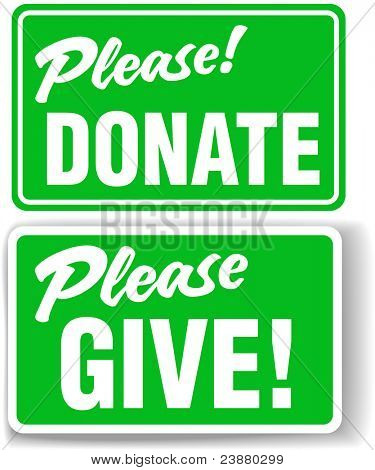 Please Donate and Give Green Store-front-style Sign Set