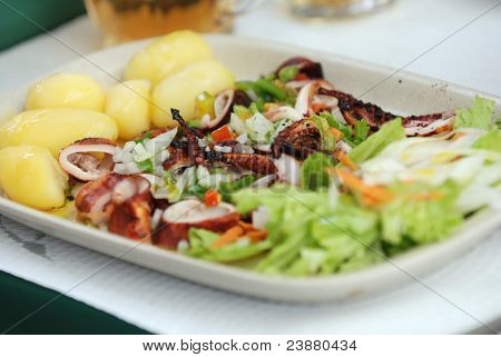 Grilled Octopus With Potato And Salad