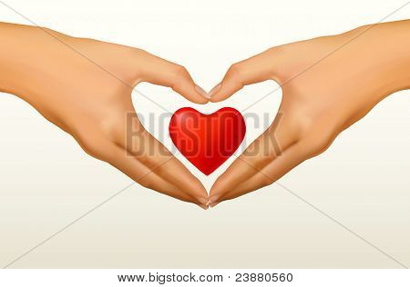 Love concept. Two hands made in the form of heart. Vector illustration