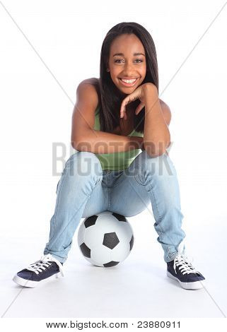 Beautiful Black Soccer Player Girl Sitting On Ball