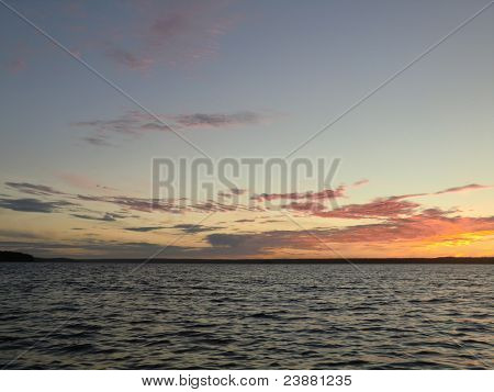 Sunset over the White sea, northern Kareliya