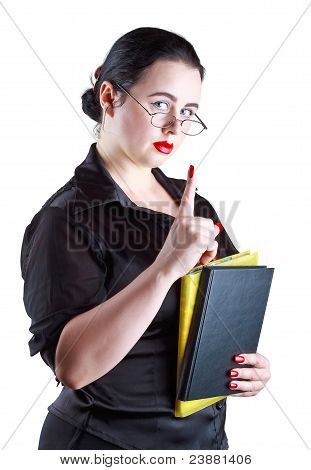 The Woman In Glasses Show Up Index Finger