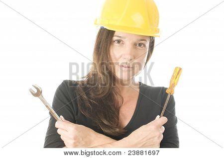 Female Worker Carpenter Builder With Tool Belt And Hard Hat Helmet